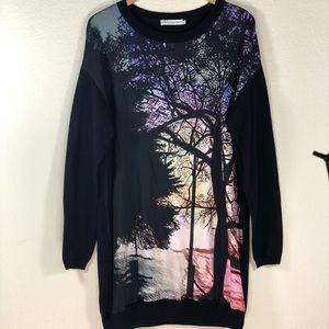 Mary Katrantzou Wool Sweater Dress w/ Silk Print